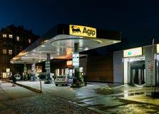 AGIP gazu stacja benzynowa przy nocą Obraz Stock