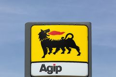 AGIP  logo on a gas station Royalty Free Stock Images