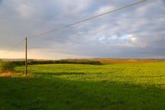 Agircutural krajobraz z chmurami Obrazy Royalty Free