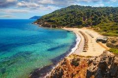 Agistros海滩,斯基亚索斯岛,希腊 免版税库存图片