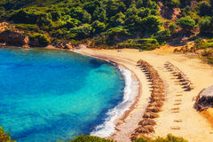 Agistros海滩,斯基亚索斯岛,希腊 免版税库存照片