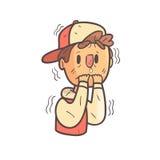 Agitação com o menino do medo no retrato esboçado fresco tirado mão de Emoji do tampão e do revestimento da faculdade ilustração do vetor