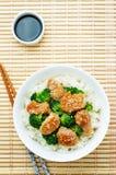 A agitação da galinha e dos brócolis de Teriyaki frita com arroz Fotos de Stock Royalty Free