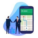 Agitação da mão do homem de negócio com ponto no smartphone o conceito de uma comunicação, do transporte, da navegação e do curso ilustração do vetor