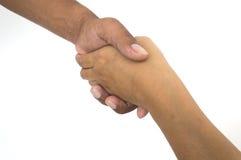 Agitação da mão do homem e da mulher Fotos de Stock