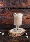 Agitação de leite de chocolate com marshmallows fotos de stock royalty free