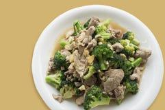 A agitação do alimento fritou o conceito asiático vegetal dos brócolis da carne de porco da carne Imagem de Stock