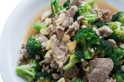 A agitação do alimento fritou o conceito asiático vegetal dos brócolis da carne de porco da carne Fotos de Stock Royalty Free