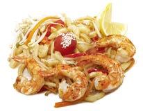 Agitação dos camarões fritada com macarronetes Imagem de Stock Royalty Free