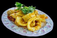Agitação Fried Squid com ovos salgados imagens de stock royalty free