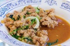 Agitação fritada com calamar e vegetal Fotografia de Stock Royalty Free
