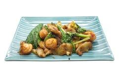 A agitação fritou vegetais verdes com carne de porco e salsicha Fotografia de Stock Royalty Free