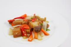Agitação tailandesa a carne de porco friável fritada Foto de Stock Royalty Free