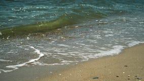 Agita incidente en la playa arenosa almacen de metraje de vídeo