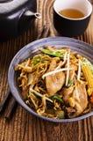 Agitación Fried Noodles con el pollo Fotografía de archivo