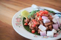 Agitación Fried Pork con goma del camarón Imagenes de archivo