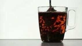 Agitando as folhas de chá no copo claro do chá video estoque