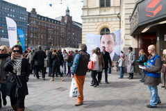 Agitation for candidates before the election. Parliamentary Elections 2011 in Finland. Helsinki 16 of April stock images