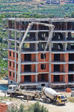 agitatore di Calcestruzzo-consegna e camion della pompa per calcestruzzo Fotografie Stock