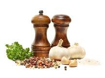 Agitatore di pepe e di sale, aglio, prezzemolo Fotografia Stock