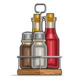 Agitatori di vetro stabiliti di vettore per sale e pepe Immagine Stock