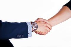 Agitazione delle mani con un cliente Fotografie Stock Libere da Diritti