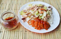 Agite a couve fritada com marisco e a galinha friável no arroz Fotografia de Stock Royalty Free