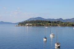 Żaglówek i jachtów Corfu wyspa Obraz Stock