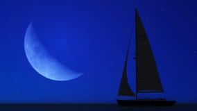 Żaglówka i księżyc Fotografia Stock