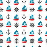 Żaglówka, kotwica i statek, sterujemy bezszwowego wzór Obraz Royalty Free