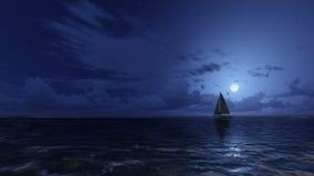 Żaglówka w noc oceanie ilustracja wektor