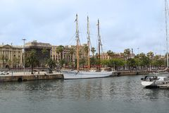 Żaglówka w Portowym Vell, Barcelona Zdjęcie Stock