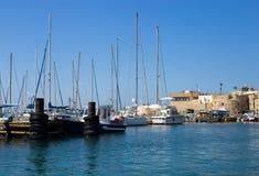 Żaglówki Cumowali przy marina w Akko, Izrael Fotografia Stock