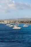 Żaglówki Cumowali z Bonaire Zdjęcia Stock