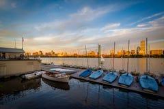 Żaglówki dokowali w Charles rzece w Cambridge, Massachusett Zdjęcie Royalty Free