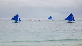 Żaglówki na morzu w Boracay, Filipiny Zdjęcie Stock