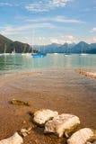 Żaglówki na wysokogórskim jeziornym Wolfgangsee, Austria Obraz Royalty Free