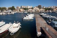 Żaglówki przy marina dokiem Alexandroupolis Obraz Royalty Free