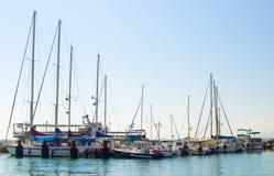 Żaglówki przy marina w Akko, Izrael Obraz Stock