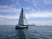 Żaglówki rasa długi plażowy jachtu klub Zdjęcia Royalty Free