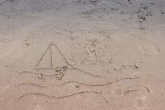 Żaglówki Rysuje w piasku Obraz Royalty Free