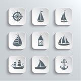 Żaglówki sieci ikony Ustawiać ilustracja wektor