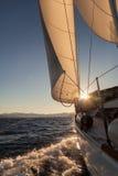 Żaglówki uprawa przy zmierzchu oceanem Fotografia Royalty Free