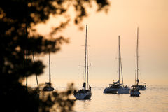 Żaglówki w Adriatyckim morzu przy zmierzchem Obraz Stock