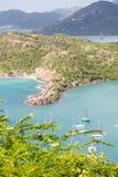 Żaglówki w Aqua zatoce Antigua Obraz Royalty Free