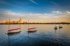 Żaglówki w Charles rzece w Cambridge, Massachusetts Zdjęcia Stock