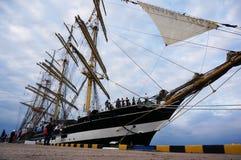 Żagla statek Kruzenshtern w porcie w Rosja Obrazy Stock