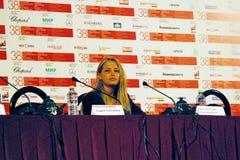 Aglaya Shilovskaya przy konferencją prasową filmu ` Dy ` Zdjęcia Stock