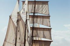 Żagle i olinowanie szczegóły Barquentine jacht Zdjęcia Stock