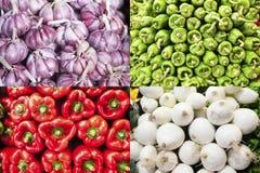 Agli, peperoni verdi, peperoni e cipolle composizione Immagini Stock Libere da Diritti